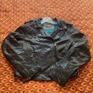 Coach black leather jacket size M